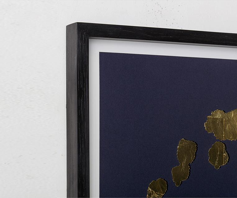 Tranh Gold Rorschach Print B On Navy Paper